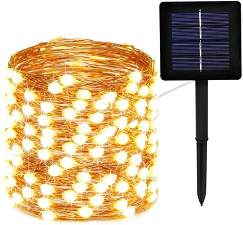 200 LEDs String Lights, Decorative Icicle Copper Wire Light for Indoor/Outdoor Gardens Homes Wedding Holiday Party Waterproof Fairy Gazebo String Lights 20M Warm White 1 Pack