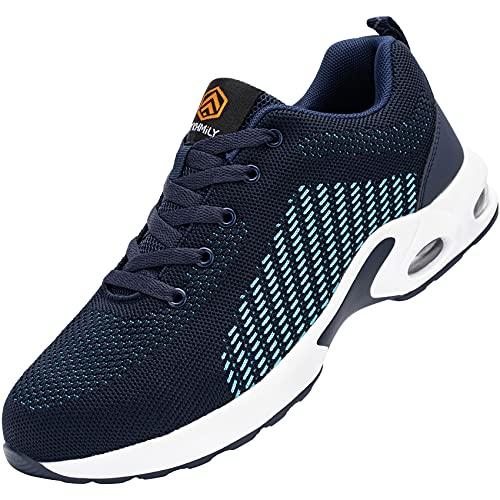 Fenlern Zapatillas de Seguridad Mujer Ligeras S1 Zapatos de Seguridad Trabajo Punta de Acero Calzado de Seguridad con Colchón de Aire (Azul Ondulado,40 EU)