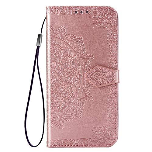 FNBK Kompatibel mit Galaxy J7 Duo 2018 Lederhülle Rose Gold Prägung Design Brieftasche Stoßfest Case Kartenfächer Mädchen Frauen Magnetverschluss Standfunktion Cover für Kinder