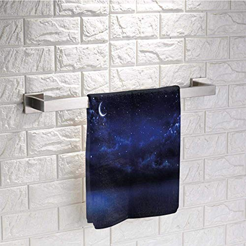 Night Sky Towel Pattern Starry Cartoon Design Sky with Lunar Moon and Stars Clouds Sea Scenery Print Towels for Bathroom Size 20'x20' Dark Blue and White