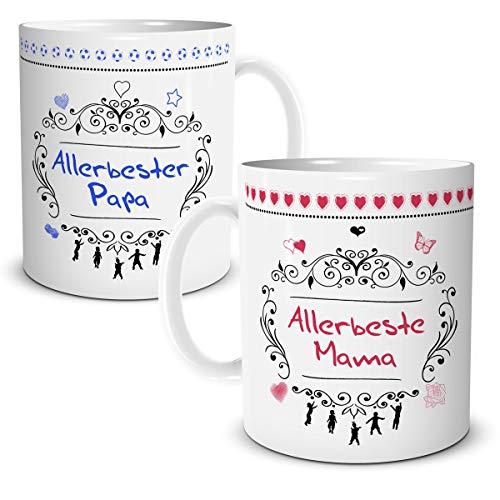 2er Tassen Set Allerbeste Mama Papa mit Spruch Geschenk für Beste Eltern Vater Mutter Geburtstag Hochzeit Hochzeitstag Jubiläum