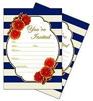 50 - Navy (Royal Blue) 5x7 Heavy Duty Postcard Invitations for showers, weddings, parties, anniversary, birthday, graduation [並行輸入品]