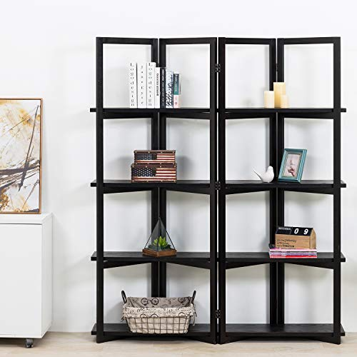 MyGift 4-Panel Open Bookcase Black Wood Room Divider with 4 Shelves