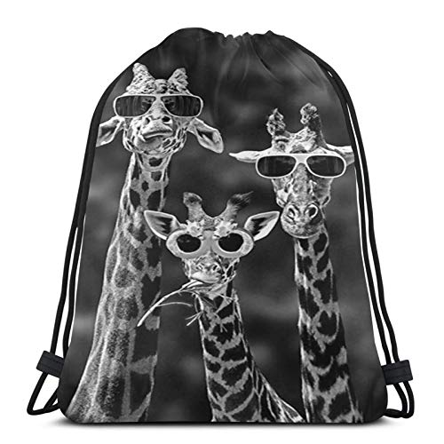 Affany Sunglass Giraffes Drawstring Backpack Bags Men Women Sport Gym Bag Polyester Cinch Sack for Hiking Yoga Swimming Travel