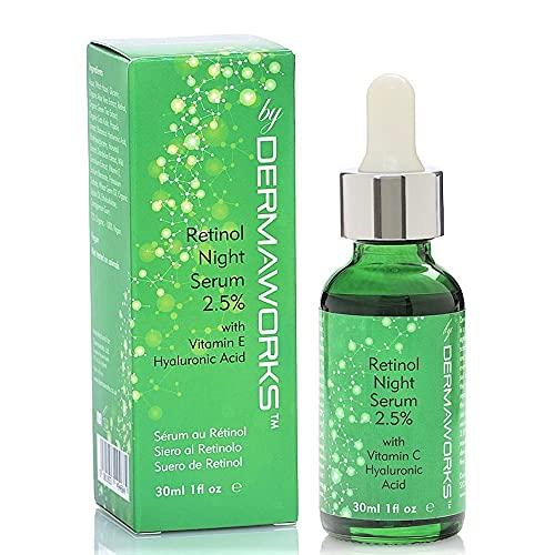 NUEVO Suero DERMAWORKS de Retinol de Alta Potencia al 2,5% con Vitamina C, Vitamina E y Ácido Hialurónico. Anti-edad, antiarrugas. Trata la hiperpigmentación, las manchas de la edad, el acné.
