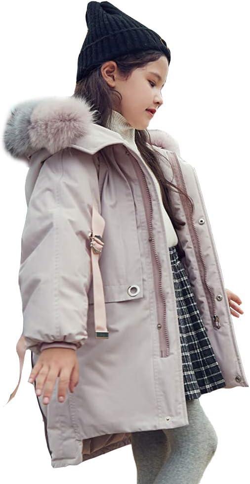 WX-ICZY Children's Winter Down Jacket, Fur Collar Girls Thick Down Jacket 4-14 Years Old,90