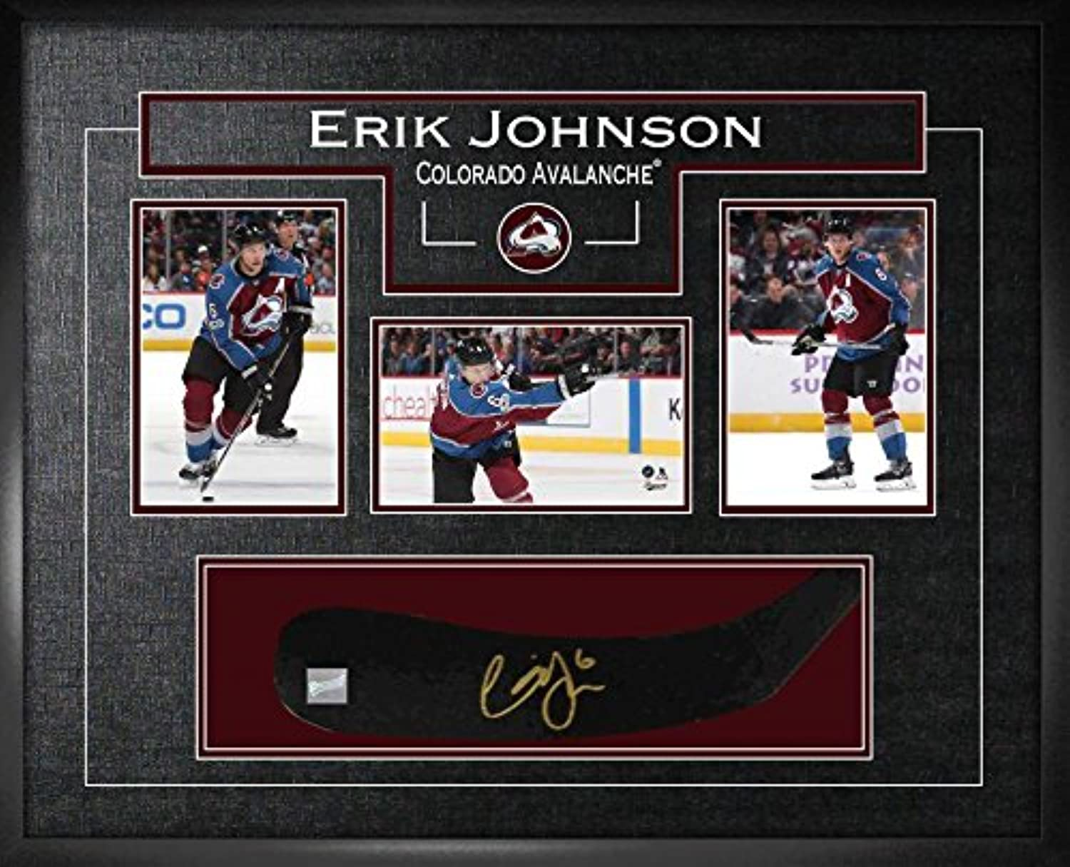 Frameworth Erik Johnson Signed Stickblade Avalanche w 34x6 Photos  Autographed NHL Sticks
