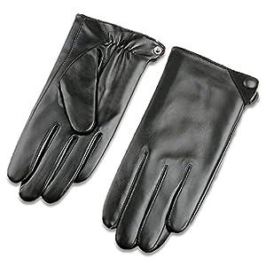 Veroman メンズ 手袋 グローブ 本革 羊革 ナッパ レザー 裏起毛 スマホ対応 タッチパネル対応 (L, ブラック)