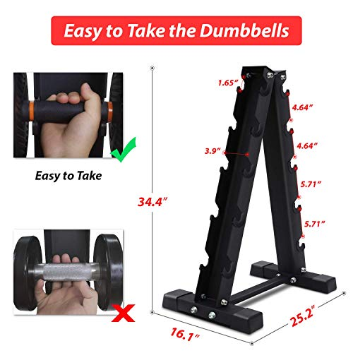 Akyen A-Frame Dumbbell Rack Stand Only-5 Tier Weight Rack for Dumbbells (570 Pounds Weight Capacity, 2020 Version) 3