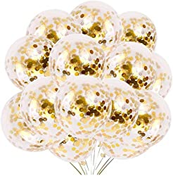 Gold Confetti Balloons - Best Bridal Shower Decorations