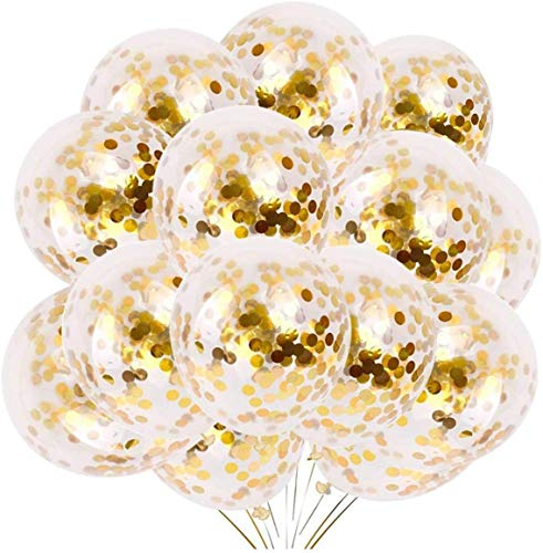 24 Pieces Gold Confetti Balloons   PREFILLED 12 Inch Latex Party Balloons with Gold Confetti for Party Decorations, Wedding & Bridal, Proposal (Gold)