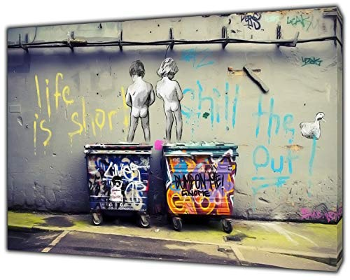 Kunstdruck auf gerahmter Leinwand, Banksy, Life is Short Kids, Stoff-Leinwand, 40'' x 30'' inch( 102x 76 cm )-18mm depth