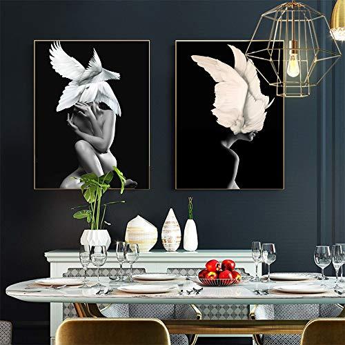 ganlanshu Wandkunstplakatschwarzweiss-Blumenfederfrauenölgemälde-Leinwand für Wohnzimmerdekoration,Rahmenlose Malerei-60X80cmx2