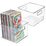 mDesign Juego de 2 Cajas organizadoras de plástico cuadradas – Cajas para...