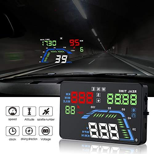 "YICOTA Auto HUD GPS Head Up Display 5,5 \""Bunte LED Armaturenbrett Projektor Geschwindigkeit Warnsystem Kompatibel mit allen Autos (Q7)"
