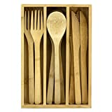 Totally Bamboo 12-Piece Reusable Bamboo Flatware Set with Portable Storage...