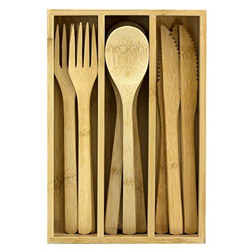 Totally Bamboo 12-Piece Reusable Bamboo Flatware Set with Portable Storage Case