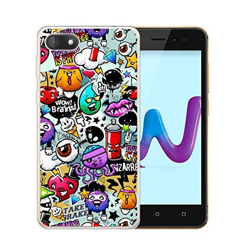 HYMY Wiko Sunny 3 Transparent Hülle Hülle - Condakov-Graffiti Schutzhülle Weich TPU Handytasche Handyhülle Durchsichtig Klar Silikon Handyfall für Wiko Sunny 3 (5.0
