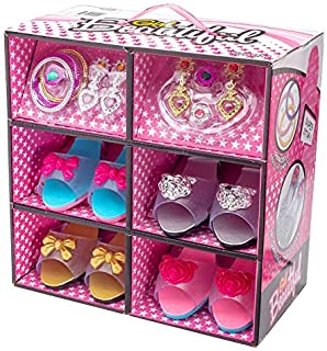 Best Shoes and Jewelry Boutique - Little Girl Princess Play Gift Set with 4 Pairs of Shoes, Collection of Earrings, Bracelets Rings - Great for Dress Up & Review
