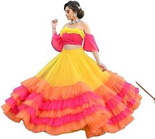 GE Export Women's Georgette Semi-stitched Lehenga Choli(Multicolor_Free Size) Amz Lehenga 0065