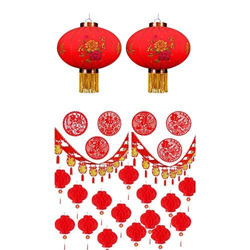 Cuasting Linterna de festival de primavera (patrón aleatorio, 2 piezas) y 28 piezas de nudo chino hecho a mano con corte de papel, linternas rojas