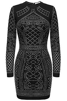 Meaneor Women s Long Sleeve Studded Sequin Dress Short Black Mini Cocktail Dresses  Black,M