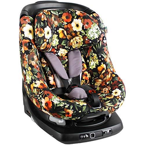 Bezug Maxi-Cosi AxissFIX Kindersitz Schwarz Blumen Schweißabsorbierend und weich für Ihr Kind Schützt vor Verschleiß und Abnutzung Öko-Tex 100 Baumwolle