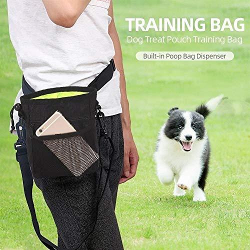 Hundehütte Dog Treat Pouch Training Bag Built-in Poop Beutelspender einfach tragen Snacks Spielzeug Smartphone Kopfhörer for Walking Reisen Wandern HundehüTte Isoliert (Color : Black)