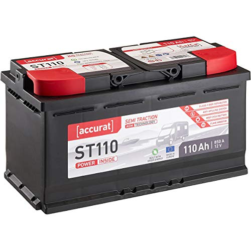 Accurat 12V 110Ah AGM Blei-Akku zyklenfeste Versorgungsbatterie VRLA Starterbatterie Semi Traction ST110 wartungsfrei