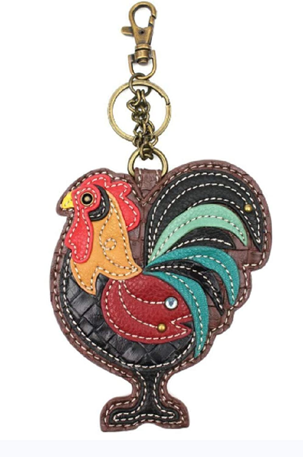 Chala Proud Rooster Whimsical Key Chain Coin Purse Bag Fob Charm