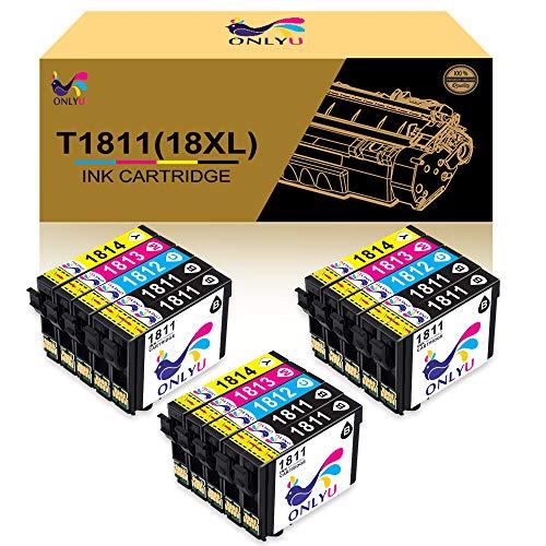ONLYU Reemplazo de Cartuchos de Tinta compatibles para Epson 18XL T1811-T1814 para Epson Expression Home XP-202 XP-205 XP-212 XP-215 XP-225 XP-302 XP-305 XP-315 XP-325 XP-402 XP- 405 (Paquete de 15)