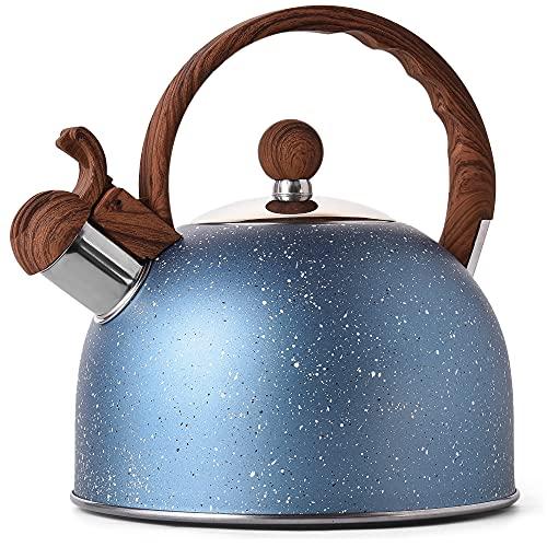 stove kettles Tea Kettle - VONIKI 2.5 Quart Tea Kettles Stovetop Whistling Teapot Stainless Steel Tea Pots for Stove Top Whistle Tea Pot With Wood Pattern Anti-slip Handle Water Kettle Gift Blue