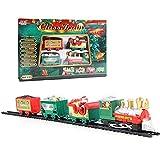Tren de Navidad Adornos de Tren Decoración de Árbol de Navidad Clásico Electrónico Tren de Navidad de Papá Noel con 3 Vagones y 7 Vías Funciona con Pilas Alrededor del Árbol de Navidad para Regalo