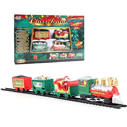Set treno di Natale Deluxe Decorazione Albero di Natale Classico Elettronico Treno di Natale Babbo Natale con 3 Carri e 7 Binari Azionato a Batteria Intorno all'Albero di Natalizio per Gioco Regalo
