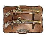 La Balestra Riproduzione Pistola Antica in Legno - XVII secolo - Due Pistole con Supporto da Muro Stile Antico - cm 41 x 28 - Made in Italy