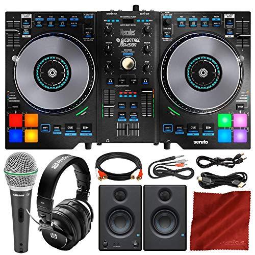 Best Bargain Hercules DJControl Jogvision + Speakers + Headphones + Platinum Accessory Bundle