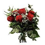 Florclick - Ramo de 6 Rosas rojas con verdes decorativos, papabel y pick corazón. Flores frescas.