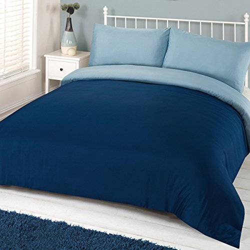 Linens Limited - Parure de lit réversible Unie - avec Housse de Couette - Bleu Marine/Bleu - 2 Personnes (Super King)