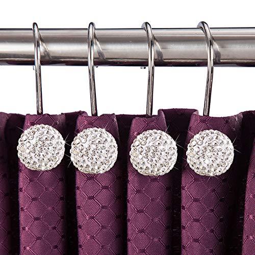 COOHC Duschvorhang-Haken, handgefertigt, kreativer Strass-Ball, für Badezimmer, Wohnzimmer, Vorhängestange, Ringe, Weiß, 12 Stück weiß