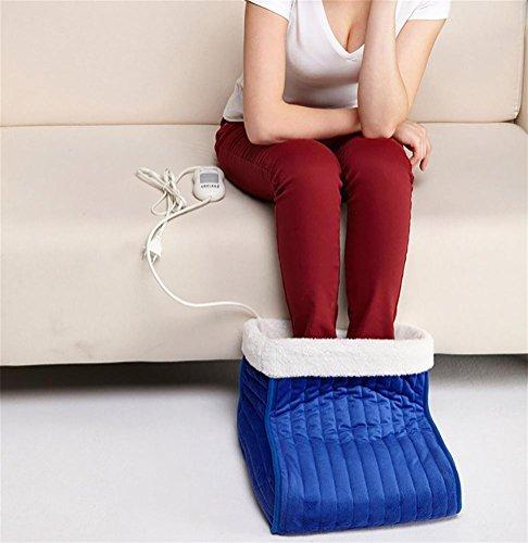 Rere ademende elektrische voetenwarmer met knuffelzachte en uitneembare fleecevoering.