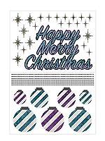 Biijo ウォールステッカー クリスマスオーナメント 壁装飾 壁紙 再剥離可 シール (水色×紫/斜めストライプ)