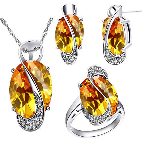 Uloveido Único Chapado en Oro Blanco Simulado Gran Oval Amarillo Topacio Collar de Diamantes Anillos y Clip en Pendientes Set para Novia (Plata, Tamaño 19) Y183