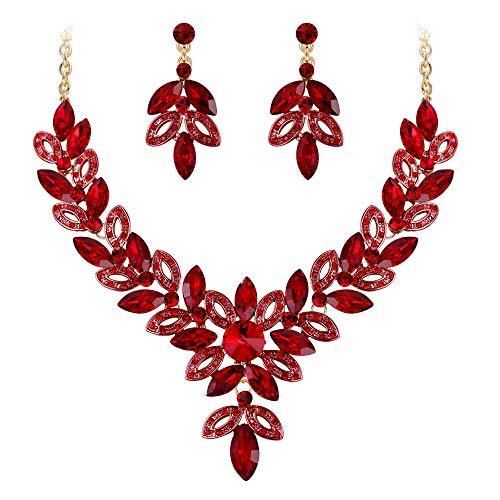 Clearine Juegos de Joyas de Mujer Lágrimas Cristal Forma Flor Encaje Hoja Vacía Collar y Pendientes para Boda Novia Fiesta Rojo