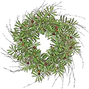 "Wholesale Silk Floral 22"" Tuscany Beauty Olive Wreath Wall décor 24-in Green"