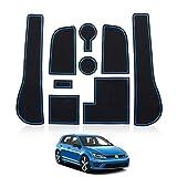 Huadi Golf 7 R GTD GTI GTE Tapis de rangement pour porte-gobelets avec rainure pour porte de voiture, anti-poussière, tapis de décoration intérieure de voiture, accessoires de golf (bleu)