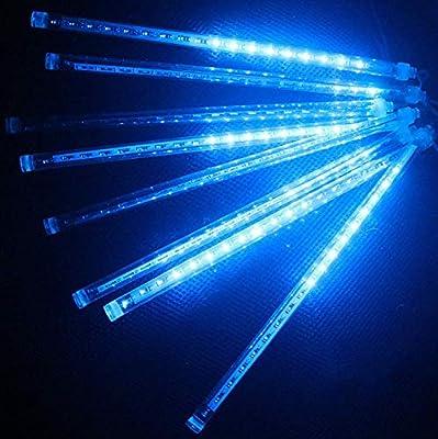 Loveboat Meteor Shower Rain Lights String Lights, 8 Tubes 30cm 144LEDs Waterproof Blue Rain Drop Lights for Outdoor Christmas Wedding Party Holiday Garden Christmas Decoration