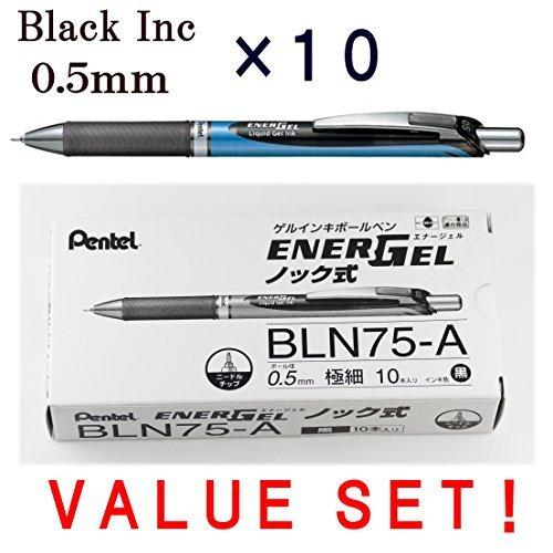 Pentel Energel Deluxe RTX stylos gel liquide rétractable, 0.5 mm, Ligne fine, pointe aiguille, Bleu Bpdy- Noir Ink-japanese Boîte de 10 (avec notre magasin description du produit originale)