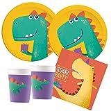 Procos 10136155B - Set per Feste per Bambini Dino, Roar Party compostabili, Piatti, Bicchieri, tovaglioli, Decorazione da Tavolo, Compleanno per Bambini, Barbecue, Feste a Tema