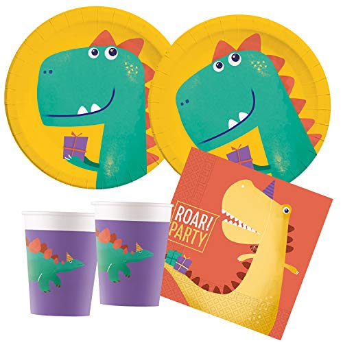 Procos – Kinderpartyset Dino, Roar Party, kompostierbar, Teller, Becher, Servietten, Tischdeko, Kindergeburtstag, Grillparty, Motto Party