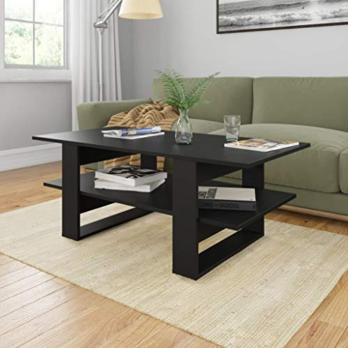 Festnight Couchtisch Schwarz 110x55x42 cm Spanplatte Wohnzimmertisch Kaffeetisch Beistelltisch Sofatisch Wohnraum Couch Tisch